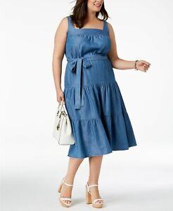 e74c692e0d9 MICHAEL MICHAEL KORS Women s Plus Chambray Tiered Midi Dress Size 0X ...