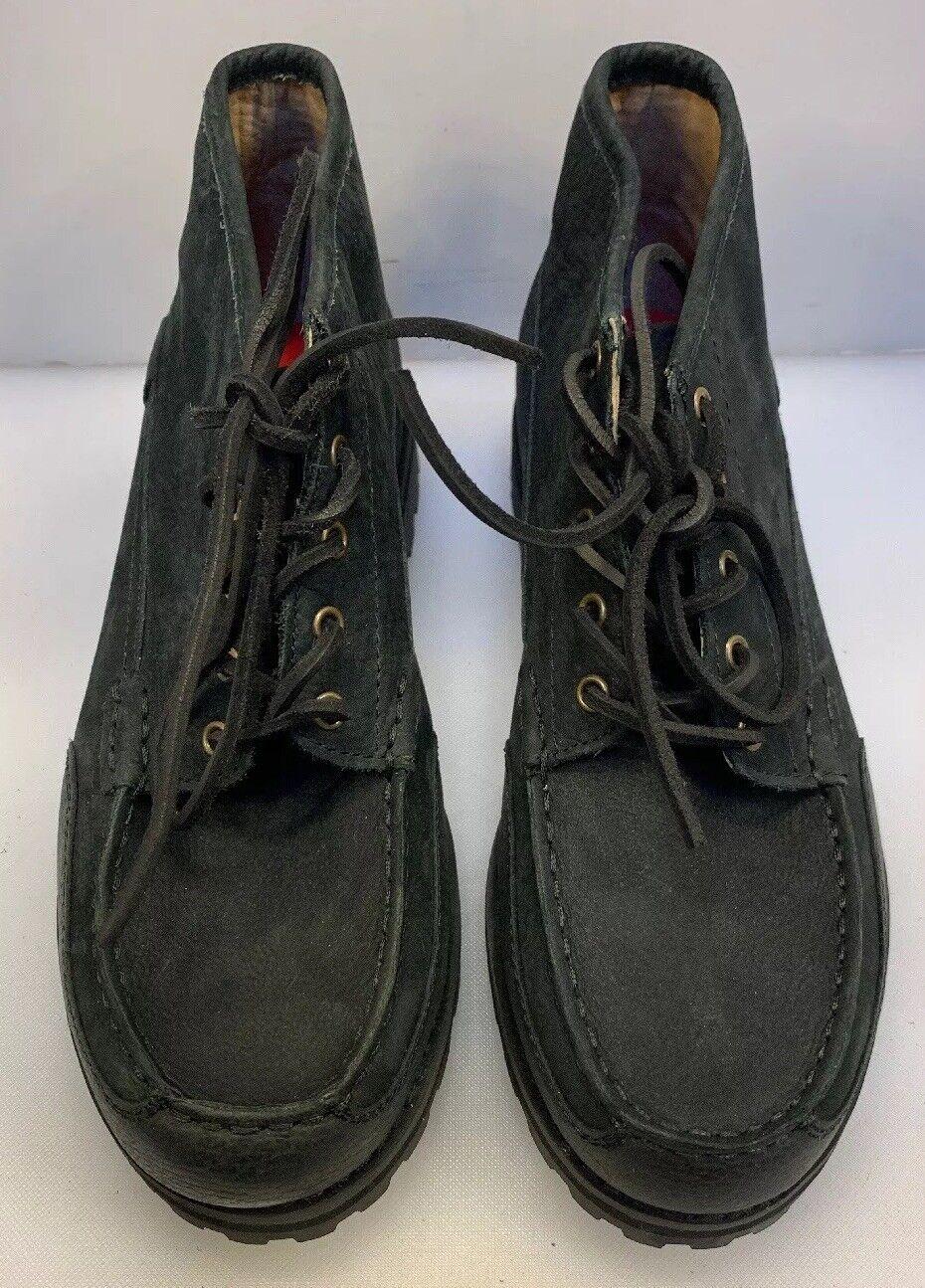 Polo Ralph Lauren Hombre 8.5 D Waterton botas al tobillo con Cordones Cuero Negro Nuevo En Caja Nuevo