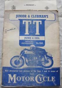 ISLE OF MAN TT 4 Jun 1951 Junior & Clubmans Official Programme + Score Cards