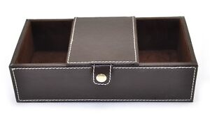 Men Jewelry Dresser Desk Drawer Cell Phone Key Valet Organizer Storage Tray Box by Unbranded