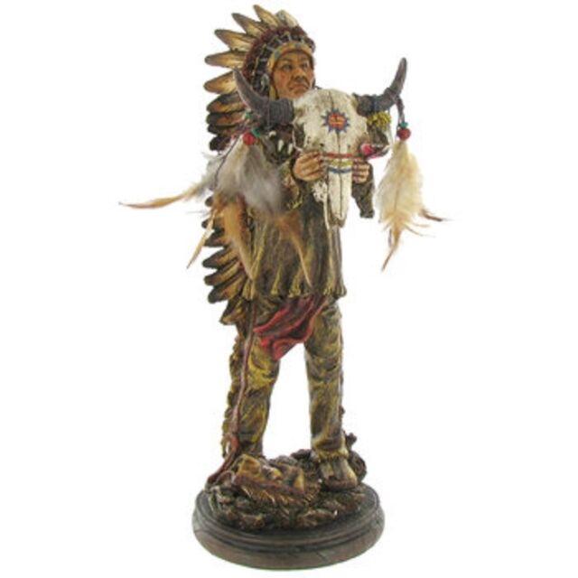 Bronze Sculpture Statue Bookend Native American Indian Rifle Warrior w// Wolf Dog