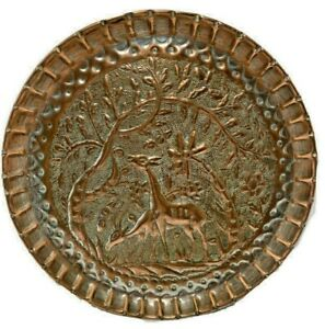 Copper-Deer-Antelope-Forest-Scene-Raised-Metal-Plate-10-3-8-034-W-x-7-8-034-H-Home-Decor