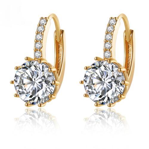 Ohrringe Hänger Klappcreolen Zirkonia weiß 999er Gold vergoldet UVP 69€ O1461S