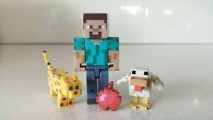 Minecraft-Set-of-3-Steve-with-Bomb-Chicken-amp-Leopard-Figures-New-without-Box