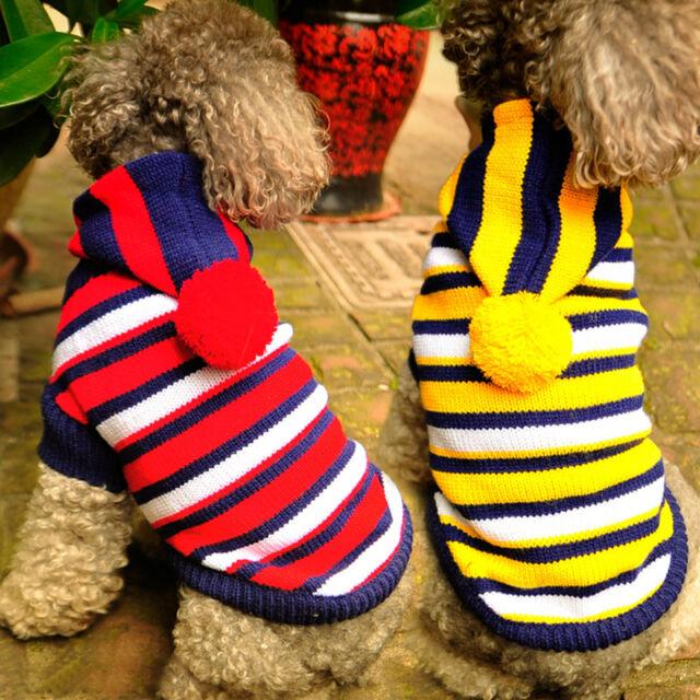 Small Medium Pet Dog Sweater Clothes Stripe Cat Hoodie Puppy Coat Apparel Warm