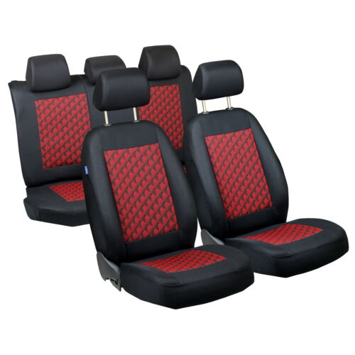 Schwarz-rot Effekt 3D Sitzbezüge für FIAT GRANDE PUNTO Autositzbezug Komplett