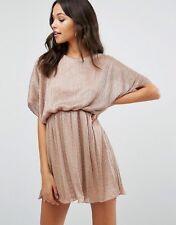 -% BOOHOO Plisse Rose Metallic Batwing Mini Dress MUST HAVE UK 16