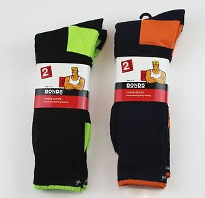 BONDS 2 PACK HARD WEARING FLURO YELLOW LIME ORANGE WORK SOCKS SHOE SIZE 11-14