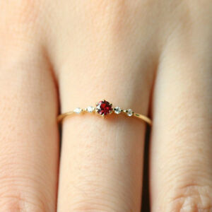 f3c50a5efaa275 Dainty Women's Red Diamond Ring Wedding Engagement Party Thin ...