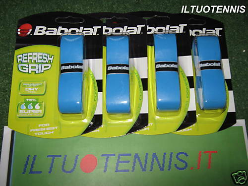 4 CONF. grip BABOLAT REFRESH  GRIP col.blue  -Sped.inclu