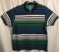 Rocawear Classic Polo Shirt - Blue Black Green White Stripe Men's XXL 2XL