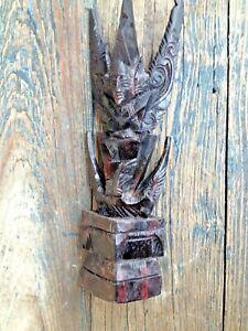 VINTAGE BALI INDONESIA HAND CARVED SOLID WOOD VISHNU RIDING GARUDA FIGURE