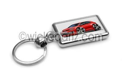 RetroArtz Cartoon Car Volkswagen VW T5 Sportline Van in White Metal Key Ring