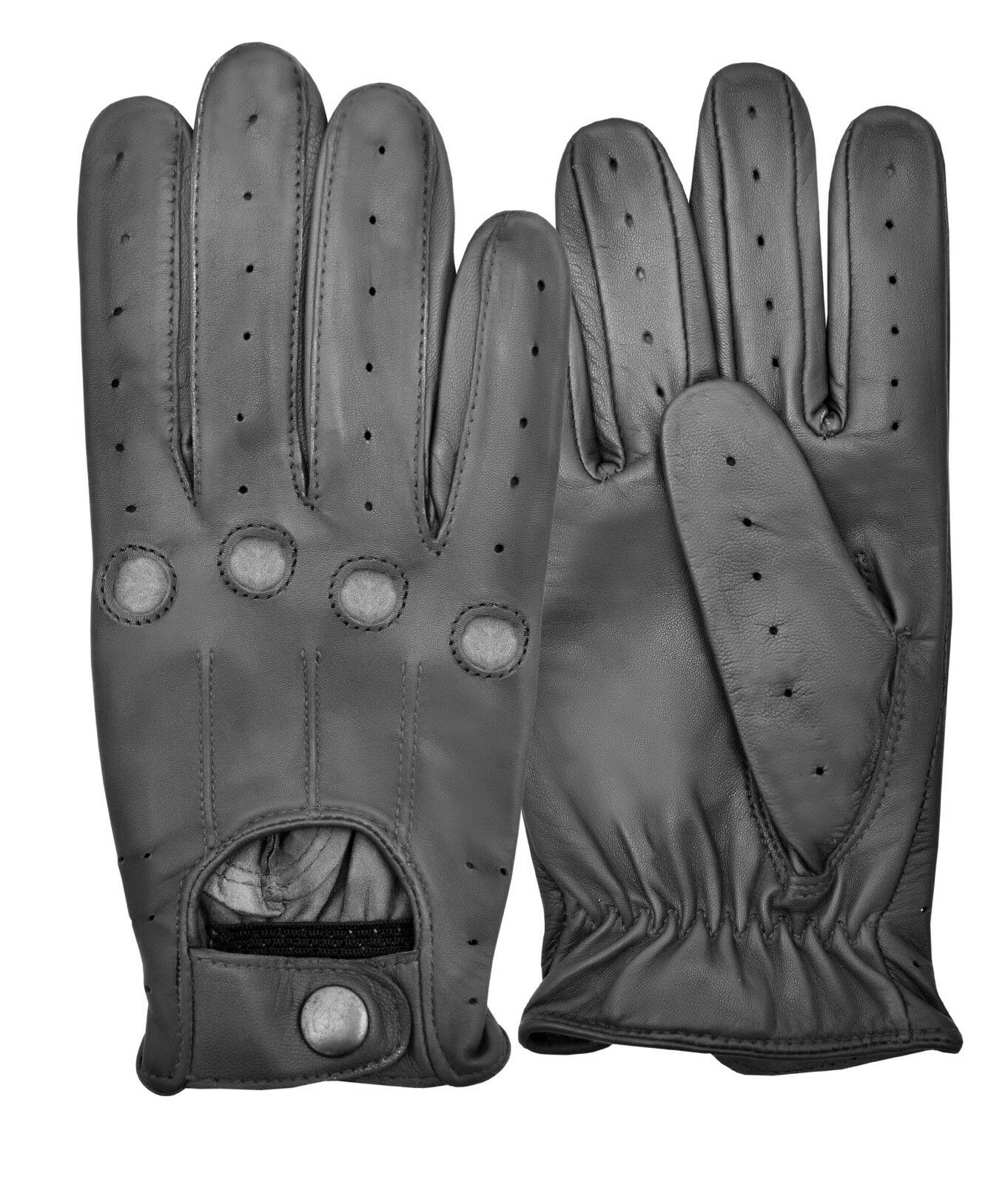 New Driving Gloves Sheep Nappa Leather Button Fastened Vintage Traditional Retro