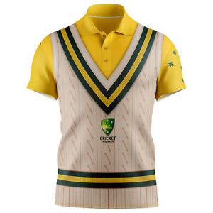 Cricket-Australia-2021-Sleeveless-Vest-Polo-Short-Sleeve-T-Shirt-Sizes-S-5XL