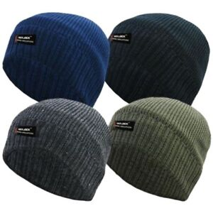 Image is loading ROCKJOCK-MENS-PLAIN-THINSULATE-BEANIE-HAT-THERMAL-FINE- 2dee0035cace