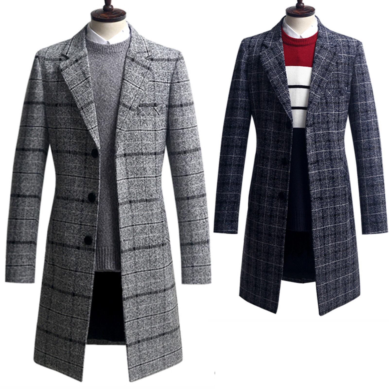 herren Slim Fit verbreitung Check Long Coat Blazer jacke Jumper Outwear Top W012 S M L