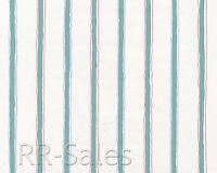 Seafoam Green White Blue Rose Fabric Backed Stripe Vtg Double Roll Wallpaper