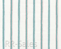 Seafoam Green White Blue Rose Fabric Backed Stripe Vtg Double Roll Wallpaper