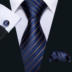 Mens-Silk-Tie-Set-Classic-Navy-Blue-Striped-Necktie-Jacquard-Woven-Ties-Business