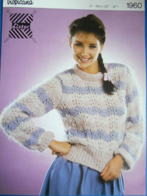 ea6ac379b Lister Knitting Pattn 1960-Ladies Mohair Lacy Pattern Sweater 32