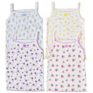 4 Pack Butterfly GIRLS /& Toddlers UNDERSHIRT Spaghetti Straps Cami TANK TOPS