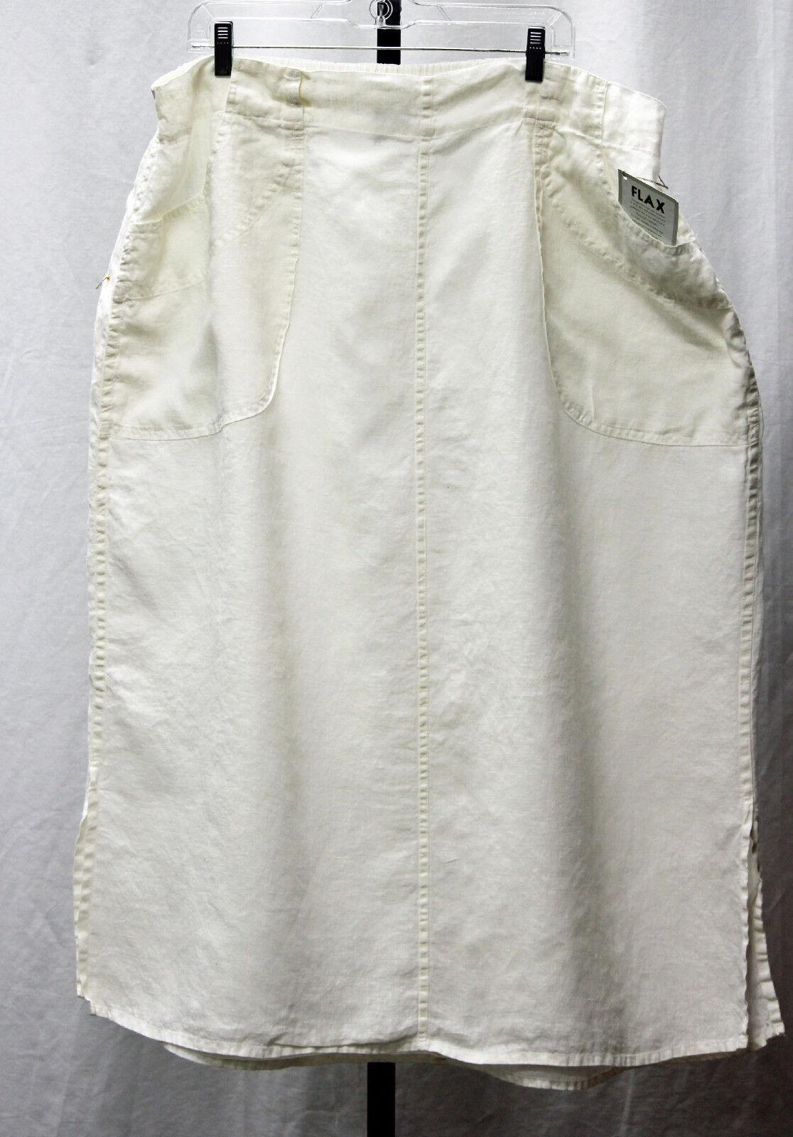 NWT FLAX Neutral Street Skirt in Milk Hanky weight linen Size 3G