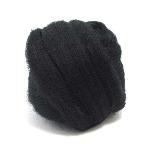 100g DYED MERINO WOOL TOP RAVEN BLACK DREADS 64/'s SPINNING FELTING ROVING