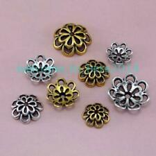 12 Flower Bead Caps Antique Gold Tone Spacers Findings Floral 12.5mm
