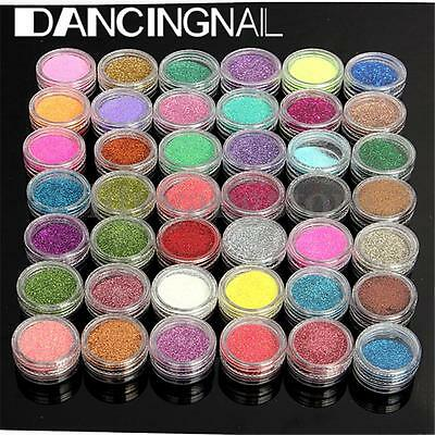 120 Colors Glitter Gems Bead Acrylic Powder UV Nail Art 3D DIY Decoration Set