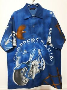 Motorcycle-Choppers-Mania-Button-Front-Shirt-Graphic-Blue-Size-XL