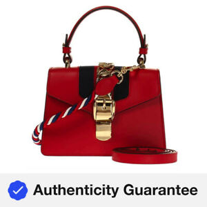 Gucci Ladies Sylvie Leather Mini Shoulder Bag in Red 470270 D4ZAG 8457