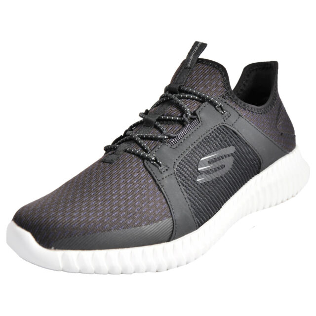 Sneakers Baskets Flex Lacets Homme Noir Elite Bungee Skechers Memory IEH9D2