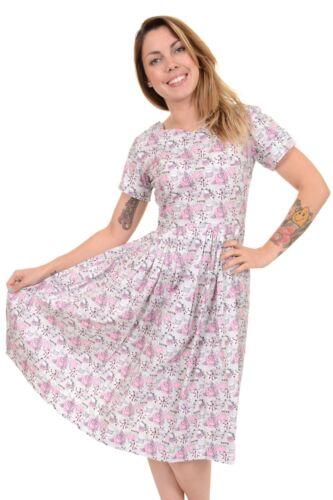 Donna Run & Fly anni'50 Argento Grigio Retrò I LOVE TEA Tea Party Dress