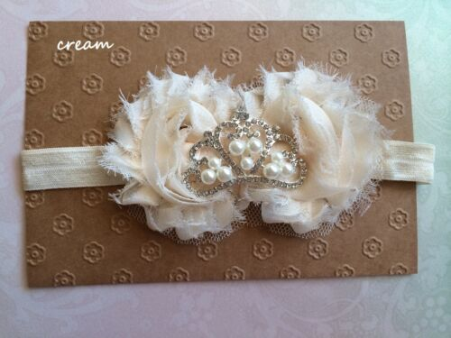 Baby Girl Princess Tiara Crown White Shabby Flower Headband Christening 0-12 mos