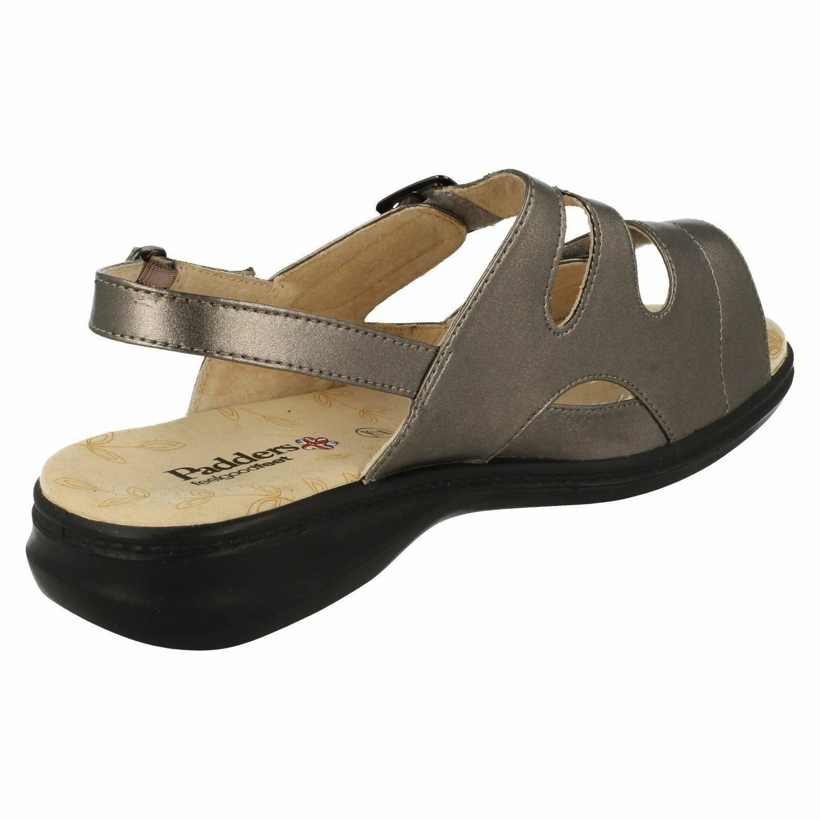 LADIES RIPTAPE PADDERS LAURA EXTRA WIDE FIT CASUAL RIPTAPE LADIES FASTENING FLAT SANDALS Schuhe a7aa8a