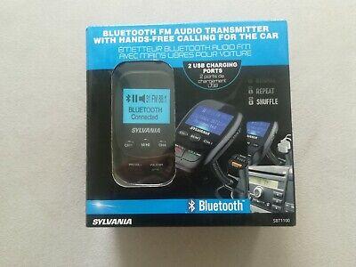 Hands Free for Car Black 2 USB Ports Sylvania Bluetooth FM Audio Transmitter