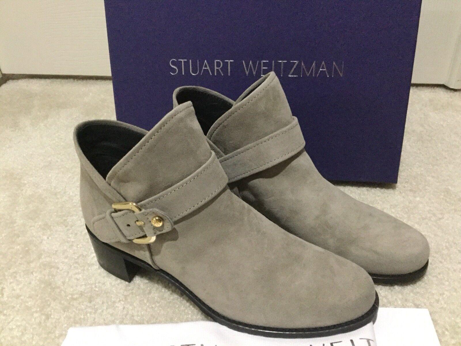 NIB Stuart Weitzman Dude Suede Buckled Ankle Bootie Gray Size 6.5