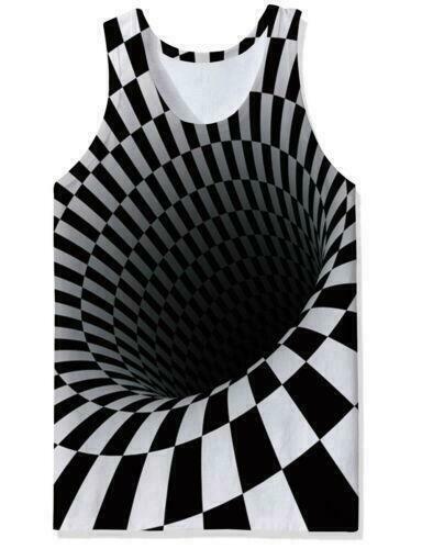 Hypnosis Swirl 3D Print Mens Gym Vest Fitness Tank Top Sleeveless Summer T Shirt