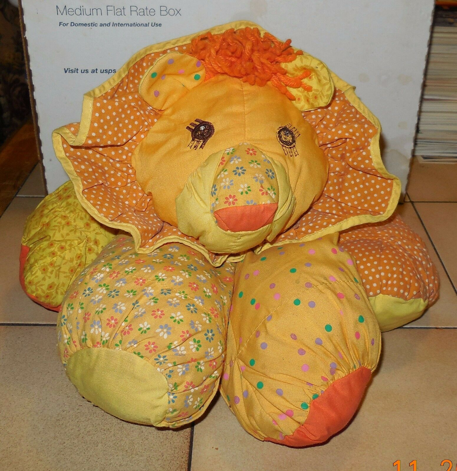 Vintage 1987 Amtoy Floppalots Lion Gelb Orange Yarn Tail Hair Plush Cloth