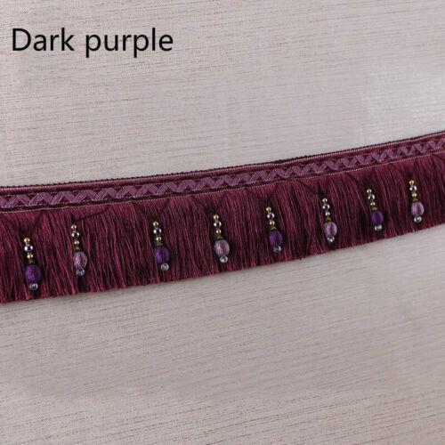 1M//2M Luxury Exquisite Beaded Tassel Trim Fringe Braid Trimming Pom Pom 10 Color