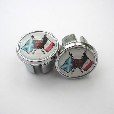 Caps Vintage Style /'The Scot/' Cycles Repro Chrome Racing Bar Plugs