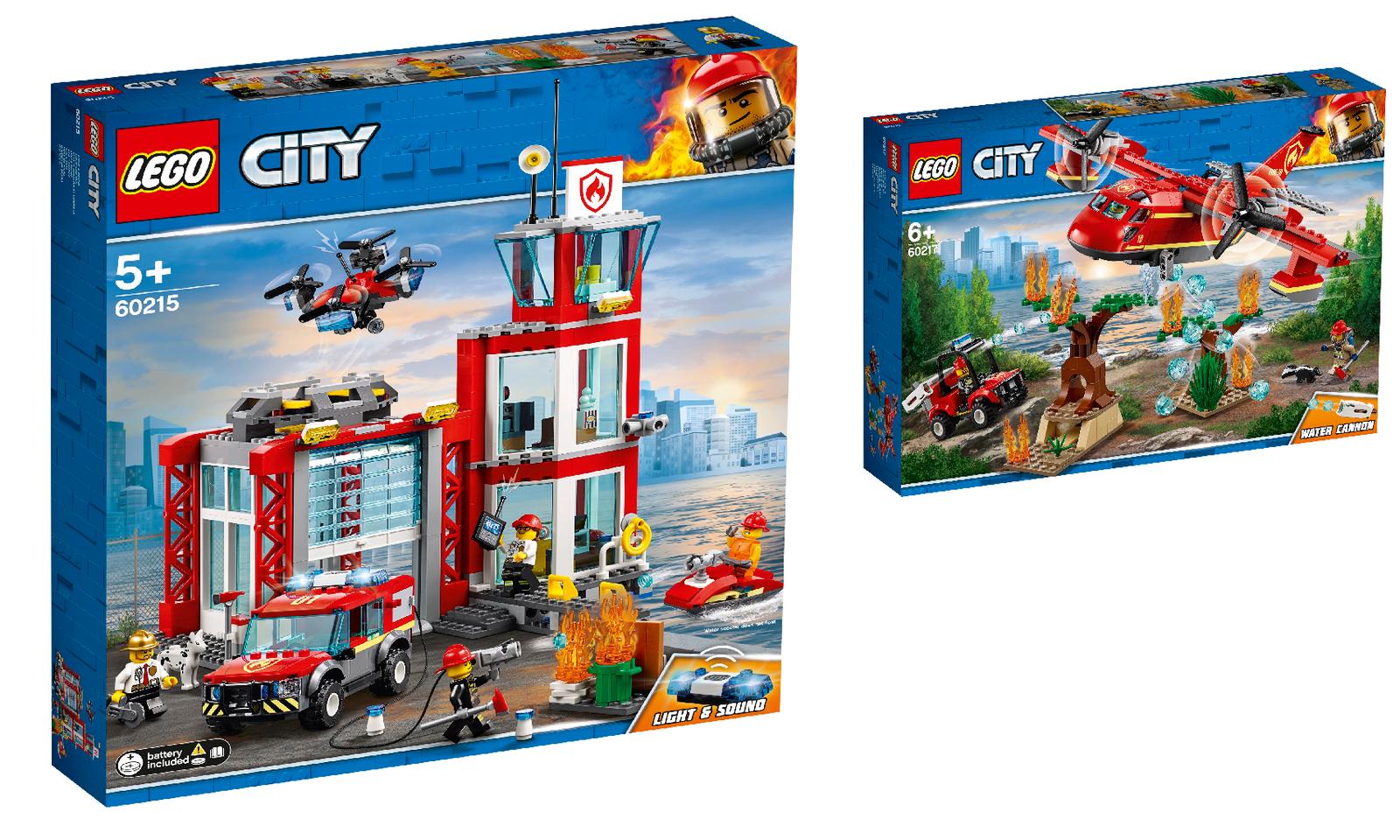 LEGO City 2er Set  60215 Feuerwehr-Station + 60217 Löschflugzeug der Feuerwehr
