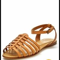 Ladies / Womens Gladiator Style  Leather Summer Sandals - Coral or Tan RRP £25