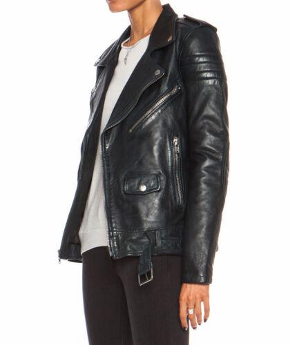 Mujer Chaqueta de Cuero Negro Ajustado Estilo Motero Biker Lambskin-All Tallas