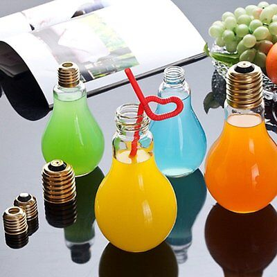 Fashion Plastic Light Bulb Shaped Bottle W/ S Drink Cup Water Bottle Party Deco