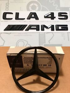 Mercedes-CLA-W117-Rear-Boot-Star-CLA45-AMG-Badge-Emblem-Set-Gloss-Black