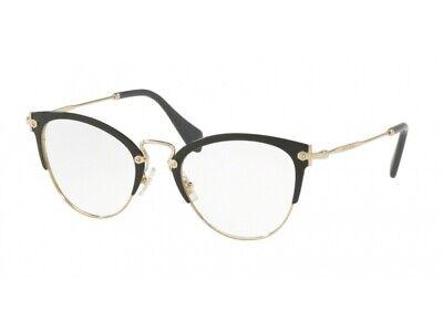 Ragionevole Montatura Occhiali Da Vista Miu Miu Autentici Mu 50qv Nero 1ab1o1