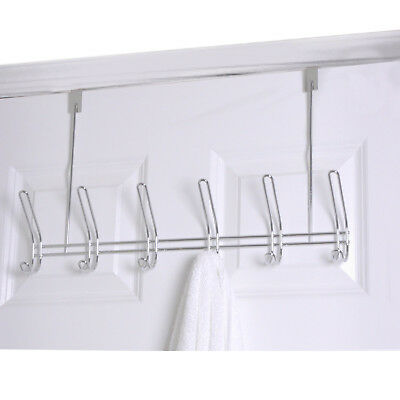 Home Basics Chrome 6 Hook Over The Door Towel Coat Rack
