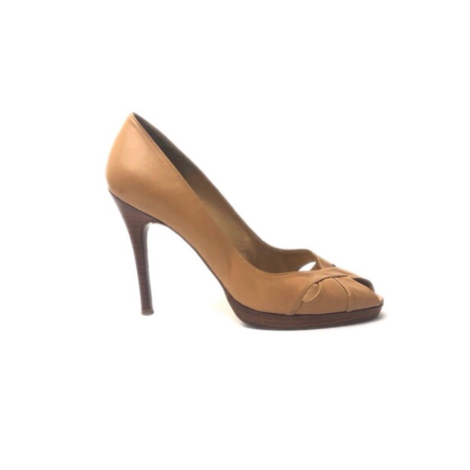 Stuart Weitzman Chaussures Femme Talons Hauts Taille 9 en Cuir Marron Clair Chaussures à bout ouvert